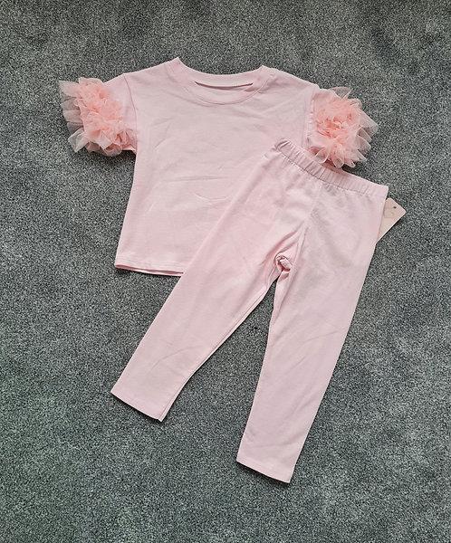 Pale Pink Ruffle Shoulder Top & Leggings Set