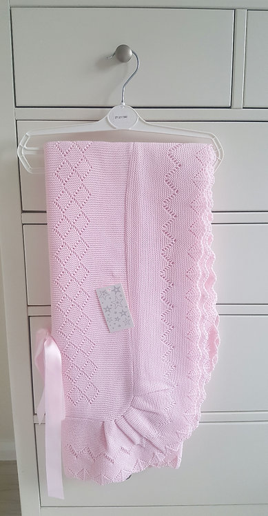 Baby Pink Crochet Knitted Cot Shawl