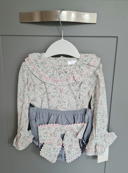 Green Floral Large Bow Bloomer Set