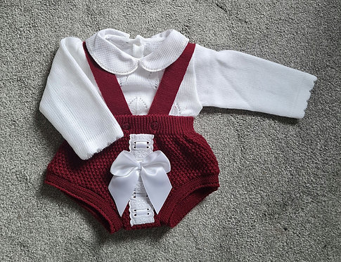Burgundy & White Knitted Bow Romper Set