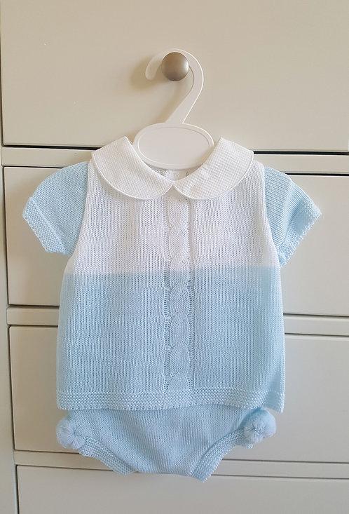 Baby Blue & White Pom Pom Knitted Set
