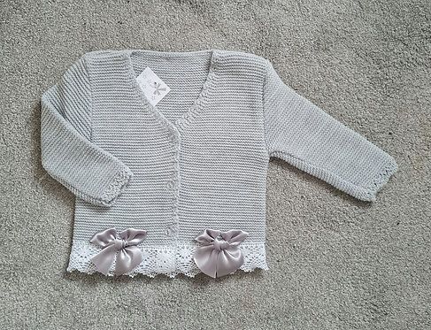 Grey Knitted Double Bow Cardigan