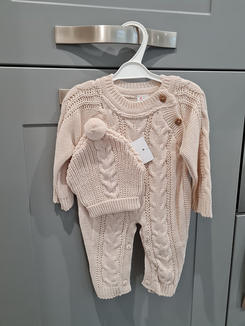 Beige Cable Knitted Romper & Hat Set