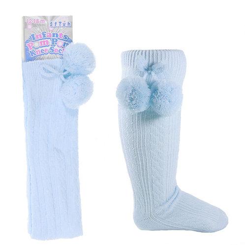 Baby Blue Knee High Pom Pom Socks