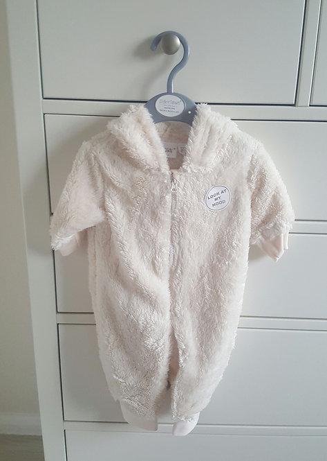 Cream Soft Fluffy Teddy Bear Ear Pramsuit