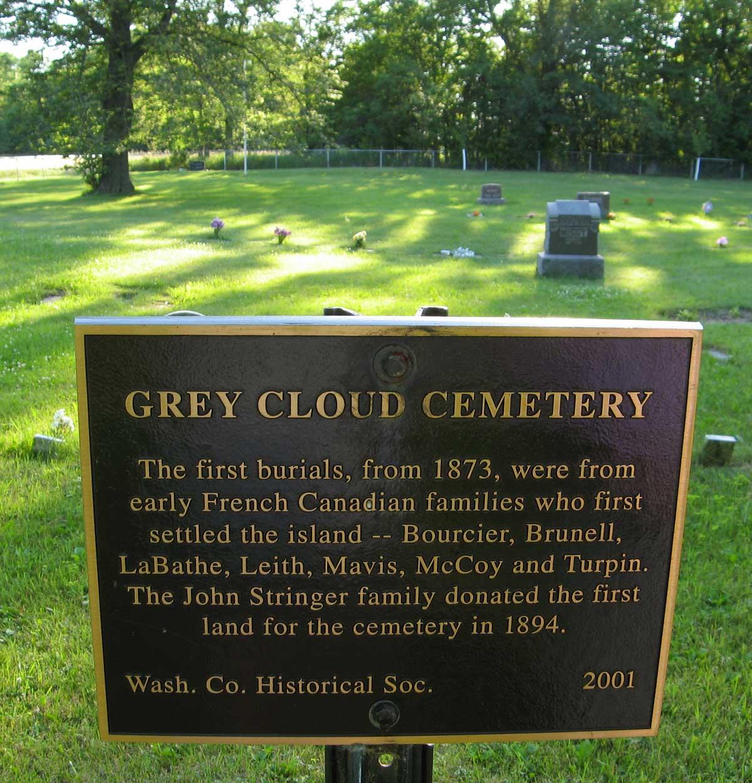 Grey Cloud Cemetary Plaque