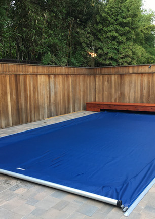 Deckmount safety cover system -Navy with Redwood bench