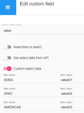 Custom field options for data registration