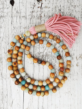 japamala amazonita, bindu spiritual fashion, meditacion, meditation, handmade, collar de meditacion, meditation necklaces