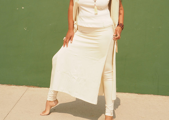Natural white leggings with long skirt, superb design, beautiful look. Yoga fashion, leisure, resort style. Organic cotton