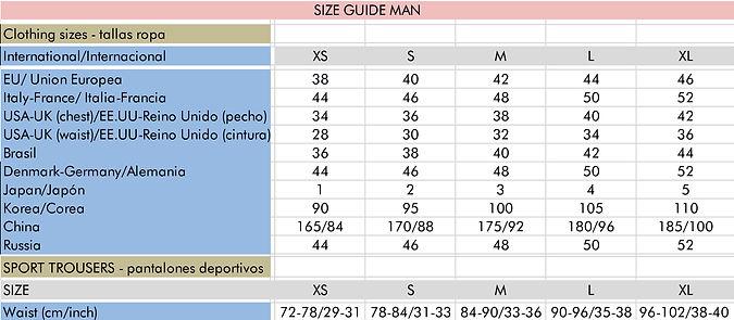 size guide man - guía de tallas hombre