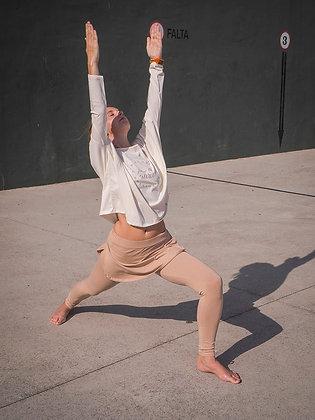 organic cotton legging with miniskirt. Color Sahara sunrise. pantalón de yoga orgánico. Sostenible ético hecho en españa