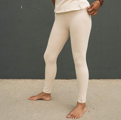 Mallas yoga blanco natural de algodon organico. Ropa de yoga.
