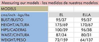 our models size - las medidas de nuestros modelos