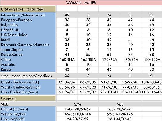 size guide woman - guia tallas mujer