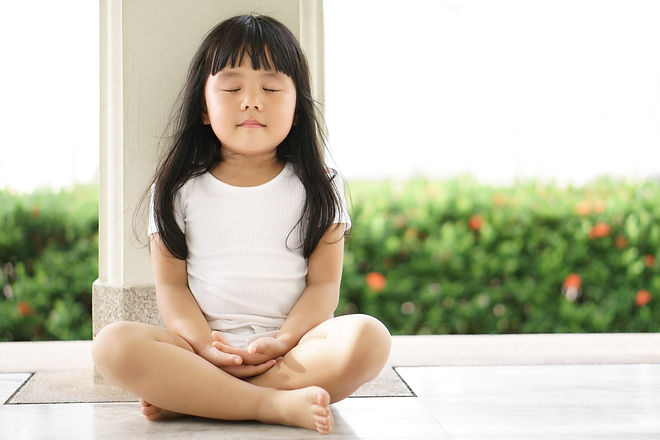 Asian children cute or kid girl sit for