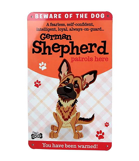 German Shepherd Dog Lovers Gift – 'Beware of the Dog' Cartoon Metal Sign