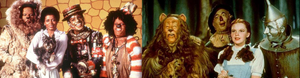 1978 cast of The Wiz [left] and 1939 cast of The Wizard of Oz [right].
