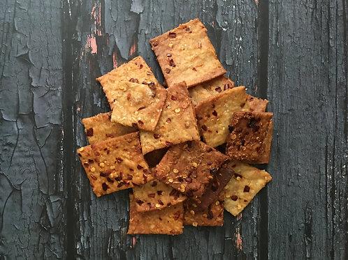 Cheese & Chilli Sourdough Crackers