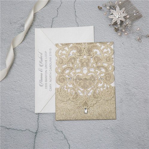 Exquisite Laser Cut Pocket Wedding Invitation