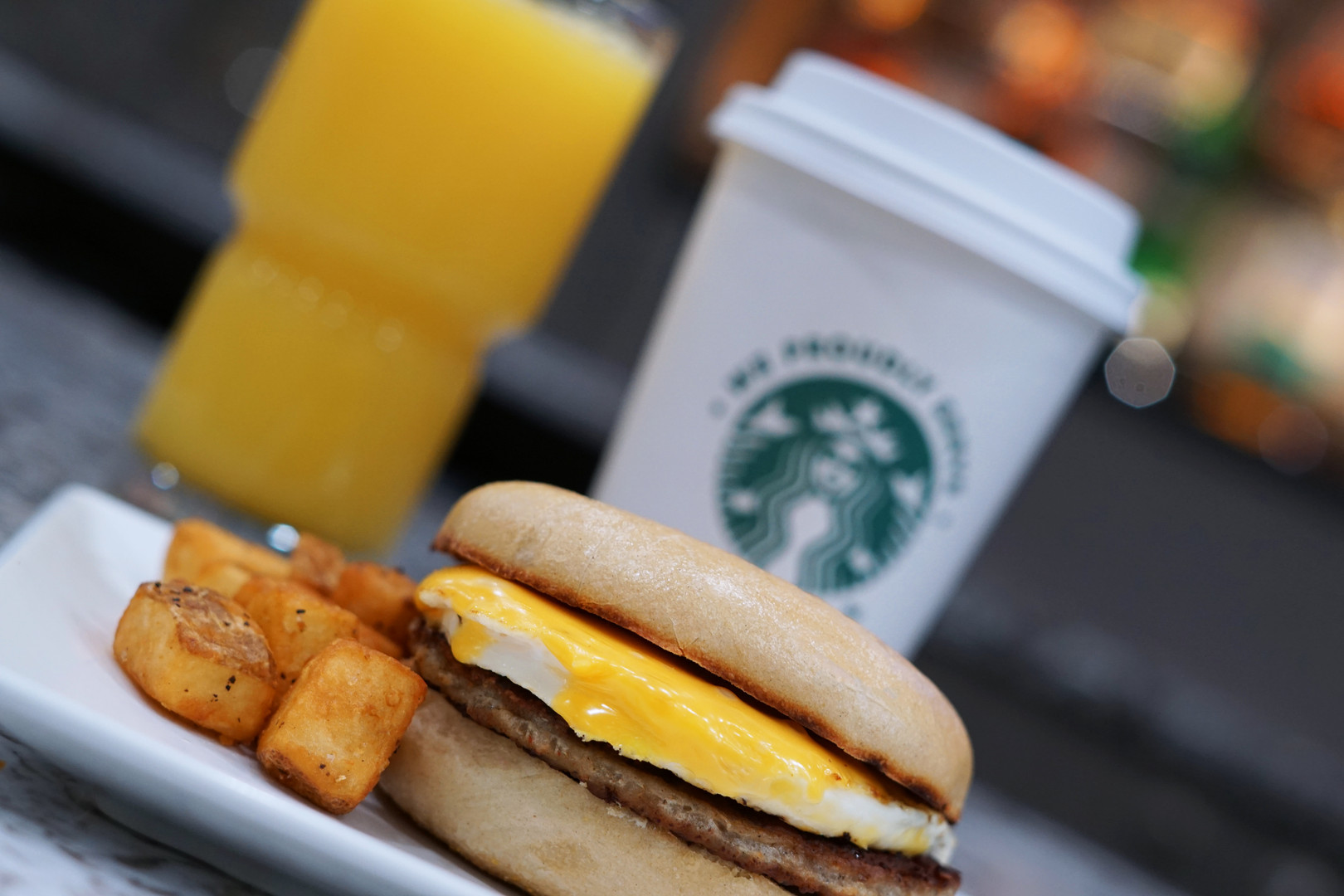Sausage Egg and Cheese Bagel with Potato