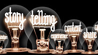 Photo of light bulbs with shining fibers in shapes of Story Telling, Marketing, Content an