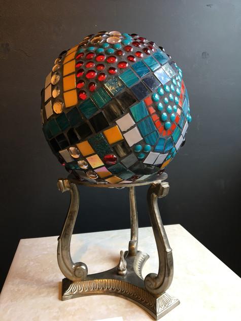 Sara Braaten, Finally Finished, Mosaic Gazing Ball with Dotti Stone