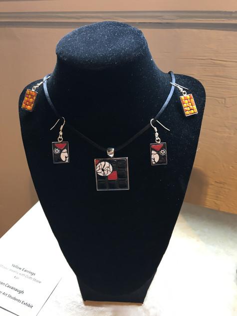 Karen Cavanaugh, Earrings & Pendant, Mosaic Jewlery with Dotti Stone