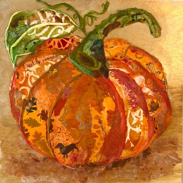 Lynn Scott, Pumpkin, Torn Paper Workshop with Jane Barefoot Rochelle