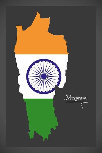 与印地安国旗例证的米佐拉姆邦地图-93164939.jpg