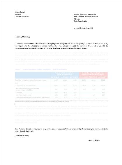 courrier réponse hausse tarifaire