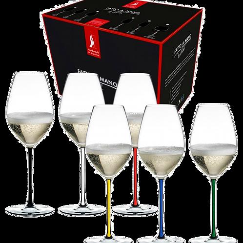 Riedel Fatto A Mano Gift Set of Coloured Champagne Glasses (Set of 6) 7900/28