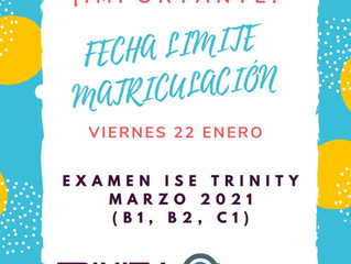 ISE TRINITY MARZO 2021 - ULTIMOS DÍAS INSCRIPCIÓN