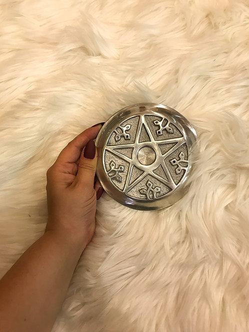 Silver Pentacle Cone Incense Plate Burner