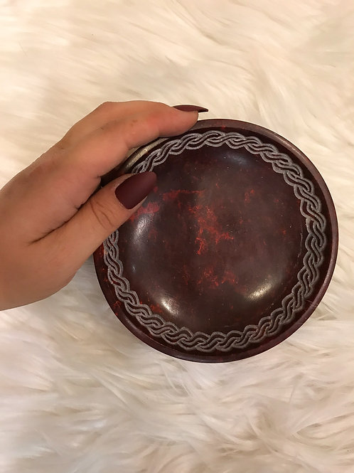 Maroon Engraved Offering Dish
