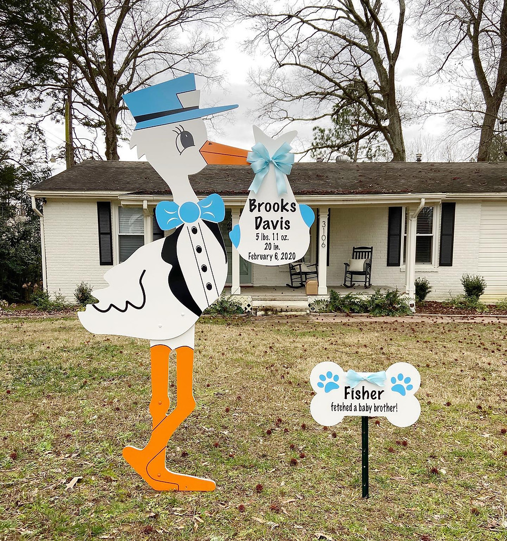 Boy Stork Sign Rental in Mount Holly, NC by Magnolia Storks & More