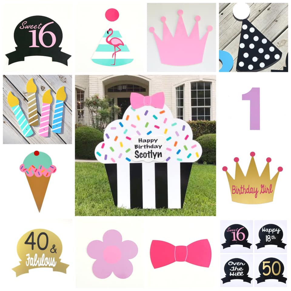Black Tie Classic Cupcake Yard Sign & Interchangeable Toppers from Baton Rouge Stork and Birthday Signs