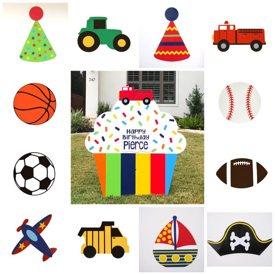 Rainbow Stripes Classic Cupcake Yard Sign & Interchangeable Toppers from Baton Rouge Stork and Birthday Signs