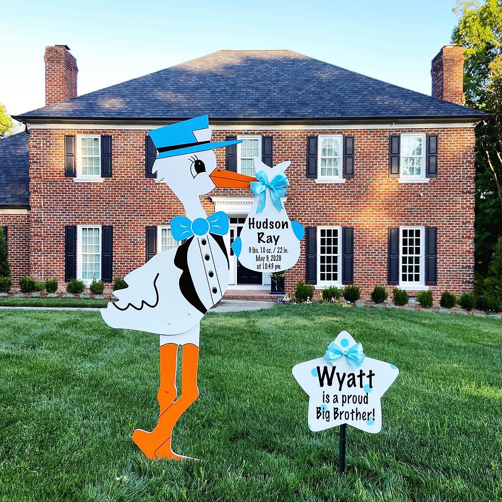 Boy Stork Yard Sign Rental in Belmont, NC
