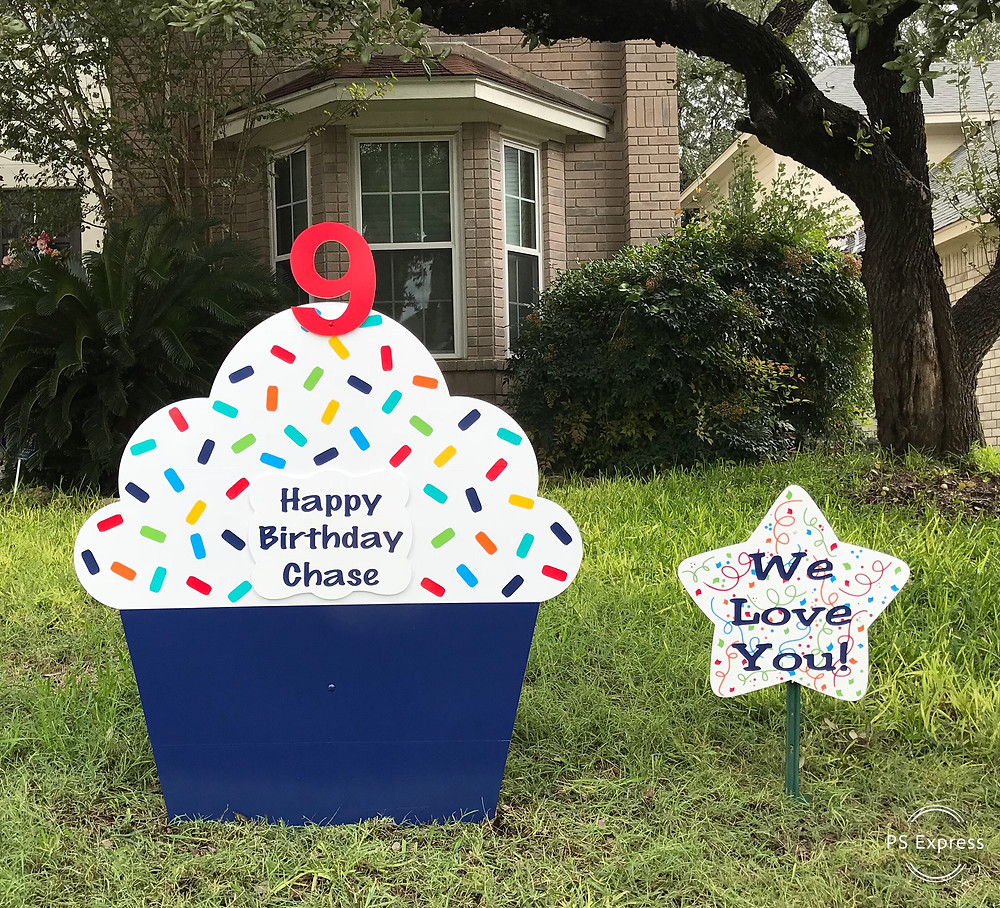 Boy Birthday cupcake announcement yard sign Illinois