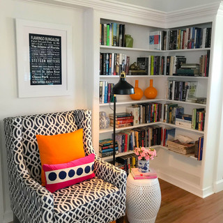 Happiness is a good book and a pretty chair. Flamingo Bungalow. DeLand, FL