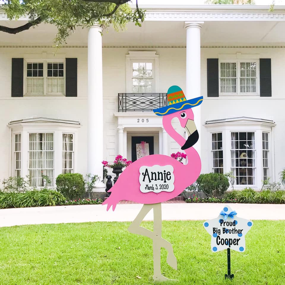 Flamingo Birth Announcement lawn sign from Baton Rouge Stork and Birthday Signs