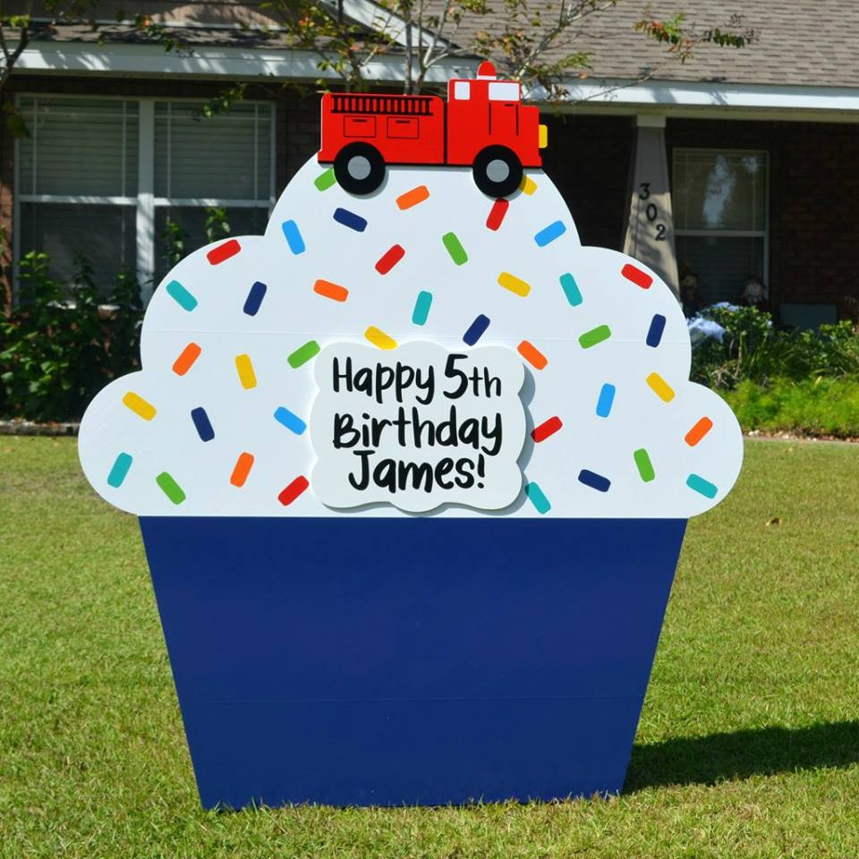 Boy Cupcake Lawn Sign Rental - Firectruck - Khloe's Storks