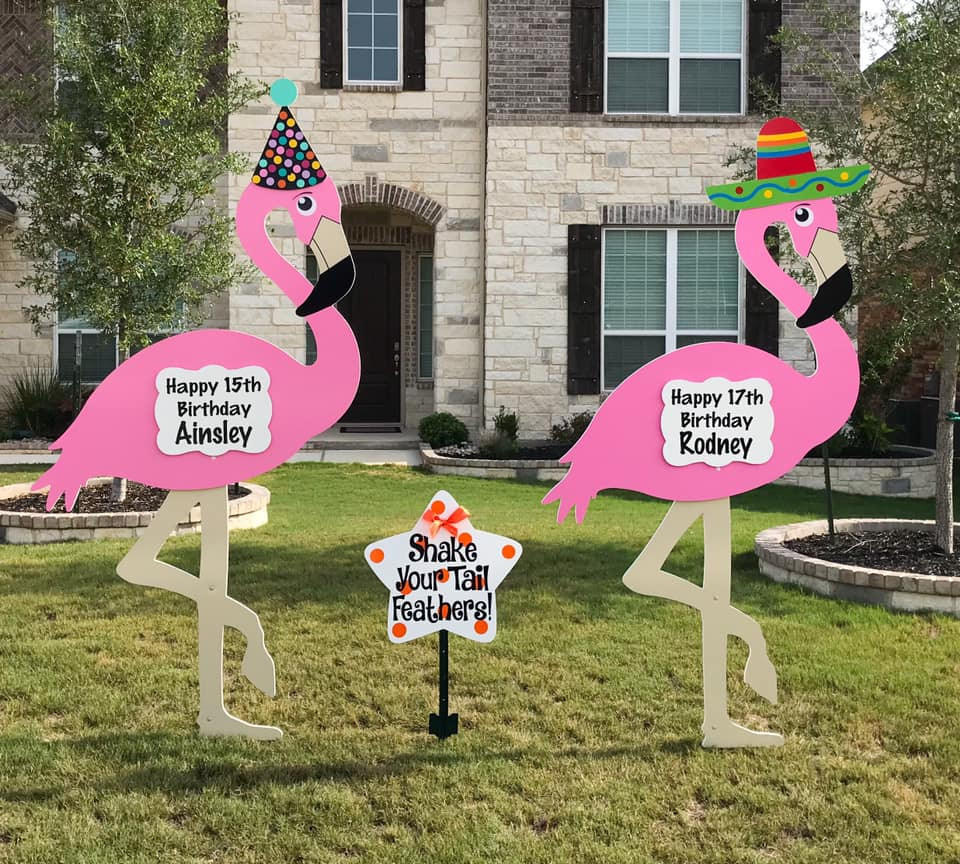 Flamingo Birthday Yard Signs and Message Star from Baton Rouge Stork and Birthday Signs