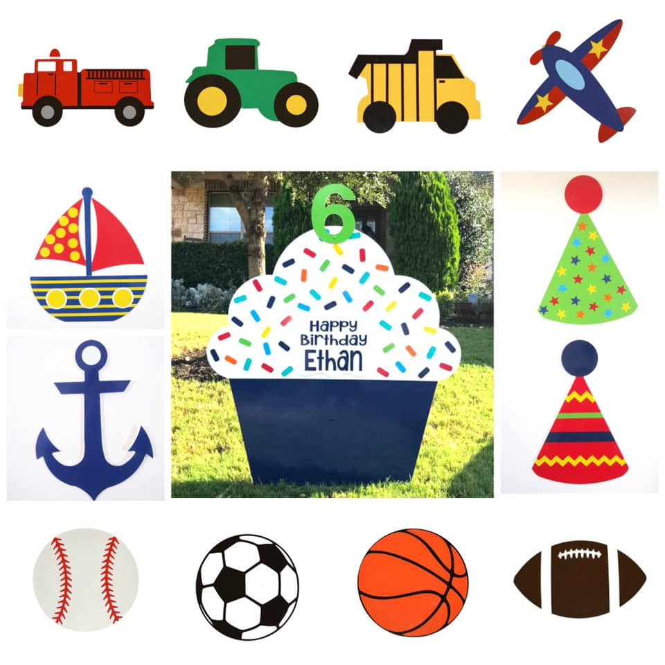 Navy Blue Classic Cupcake Yard Sign & Interchangeable Toppers from Baton Rouge Stork and Birthday Signs