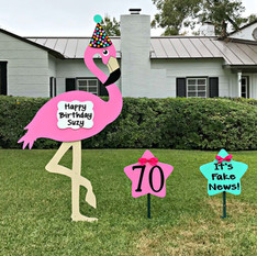 Flamingo Sign, Party Hat, Message Stars