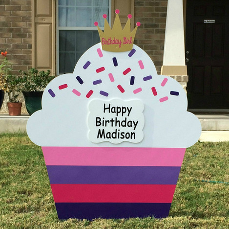 """Tickled Pink & Purple Cupcake, """"Birthday Girl"""" Crown topper"""