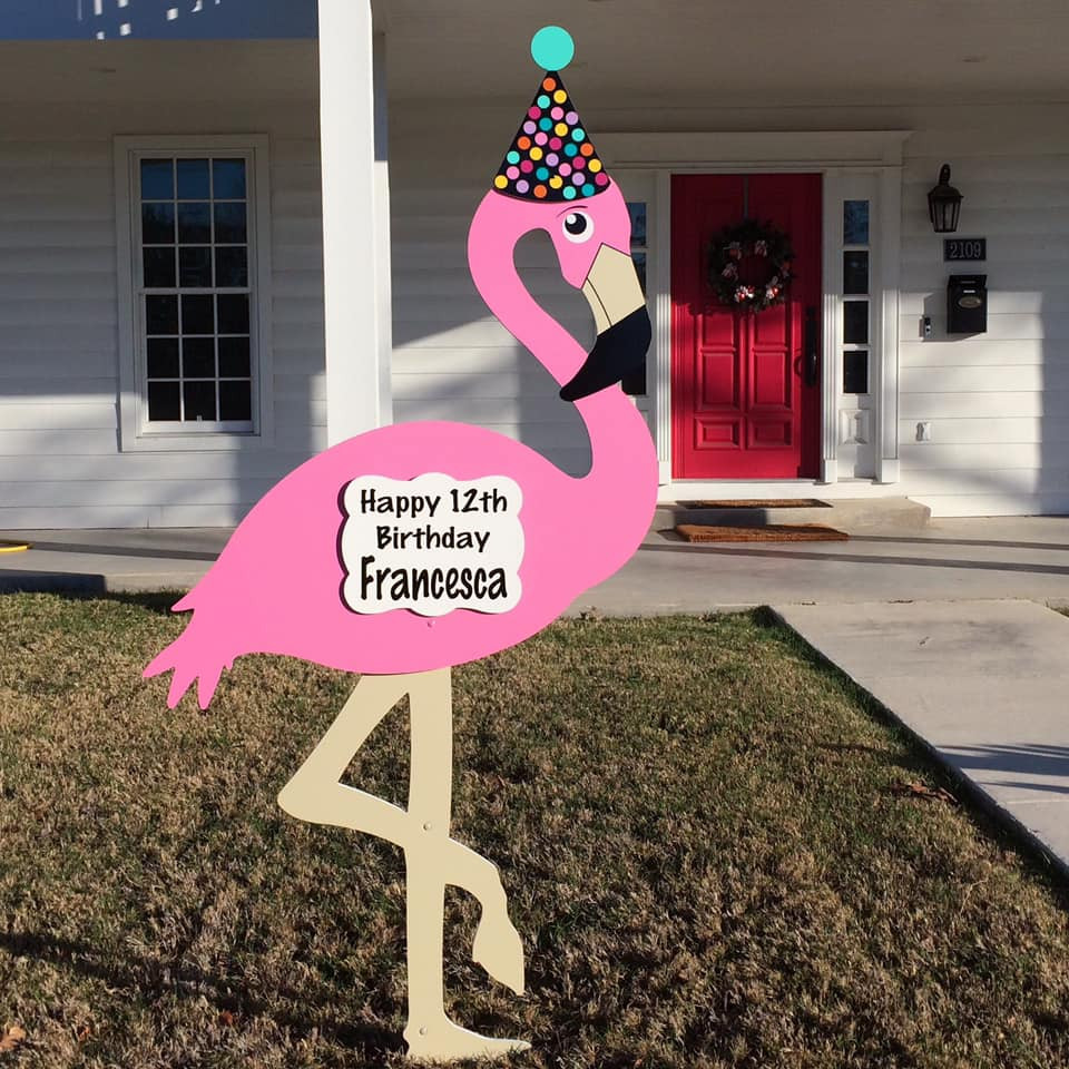 Flamingo Birthday Lawn Sign from Baton Rouge Stork and Birthday Signs