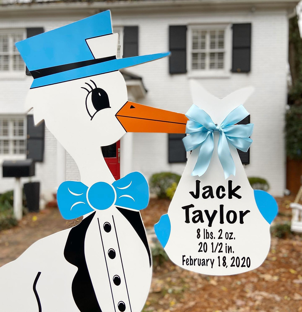 Boy Stork Yard Sign in Mount Holly, NC by Magnolia Storks & More