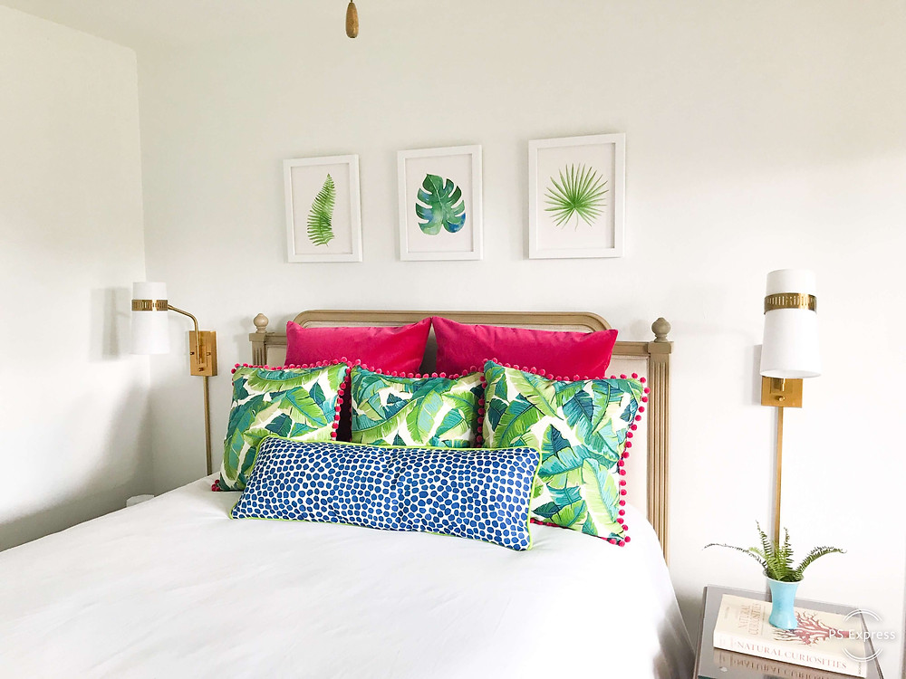 Colorful bedroom at Flamingo Bungalow DeLand